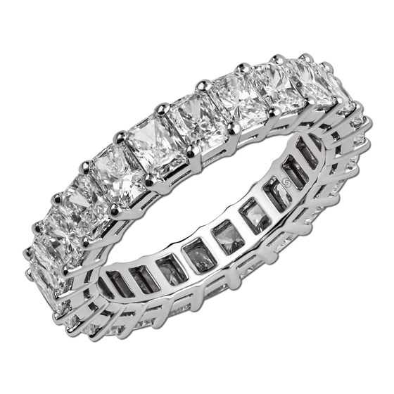 261f9c187 To add a down-to-earth element along with effortlessness, you can wear the  this radiant cut (square shaped to compliment the emerald) eternity ring,  ...