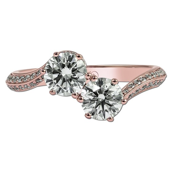 aa05fb147 Set your eyes on this rose gold beauty! Glam and gleaming, the two-pronged  diamond setting is all you need to shine on your big day.