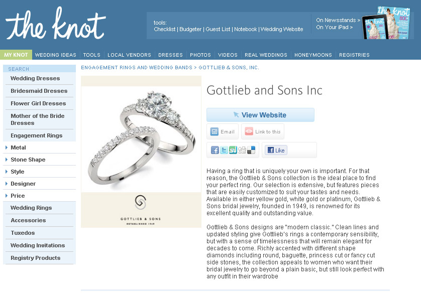The Jewelry Box Gottlieb Sons Featured In The Knots Ring Gallery